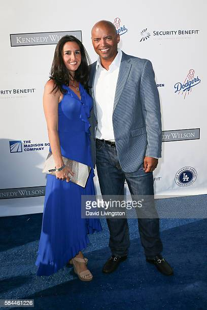 Baseball player George Lombard and guest arrive at the Los Angeles Dodgers Foundation Blue Diamond Gala at the Dodger Stadium on July 28 2016 in Los...