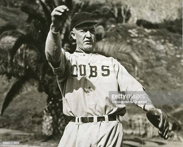 Baseball player Grover Cleveland Alexander of the Chicago Cubs throws a ball during spring training Catalina Island California 1922