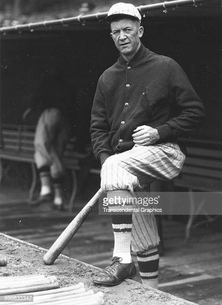 Baseball player Grover Cleveland Alexander poses on the dugout steps before a game 1928