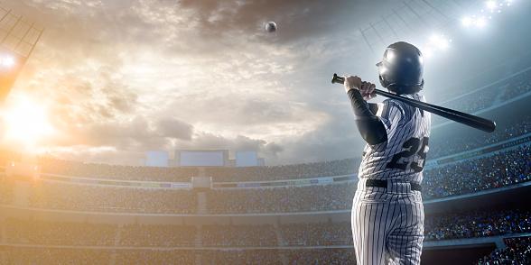 Baseball player hitting a ball in stadium 471271304