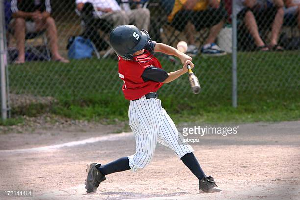 Baseball player hitting foul ball