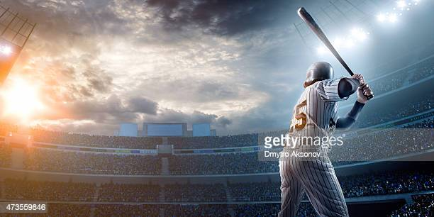 baseball player in stadium - batting stock pictures, royalty-free photos & images