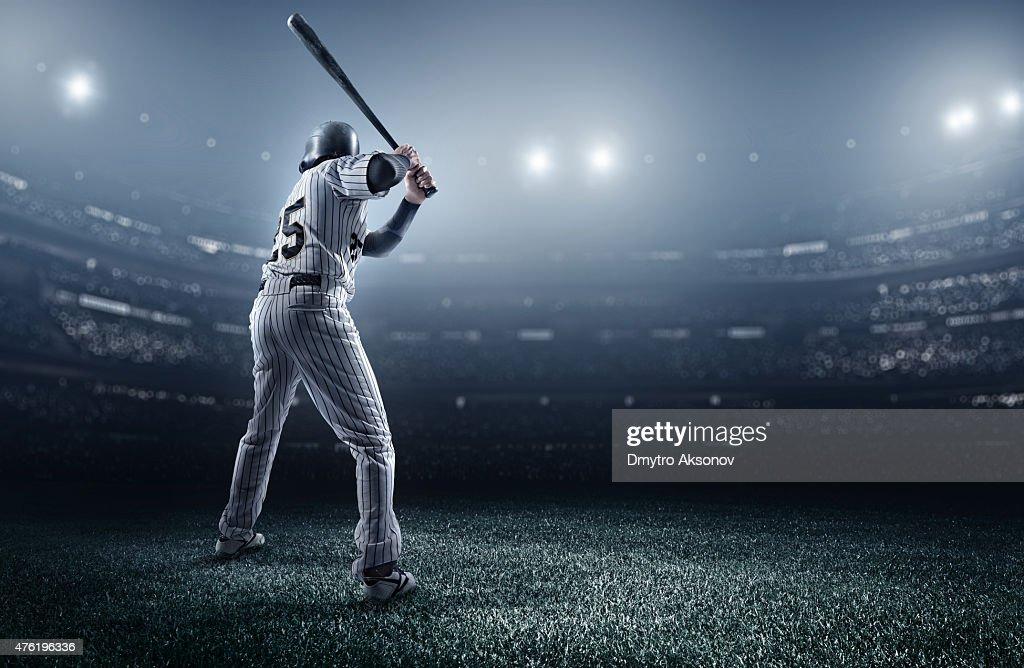 Baseball player in stadium : Stock Photo
