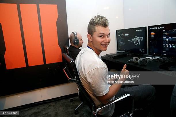 Baseball player Joc Pederson visits Activision's Call of Duty Black Ops 3 booth during E3 2015 at Los Angeles Convention Center on June 18 2015 in...