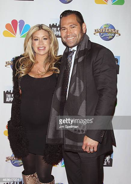 Baseball player Johnny Damon and wife Michelle Mangan attend The Celebrity Apprentice season finale at Trump Tower on February 16 2015 in New York...