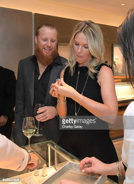 Baseball player Justin Turner and wife Kourtney Turner attend the Justin Turner Beverly Hills Event at David Yurman on April 19 2018 in Beverly Hills...
