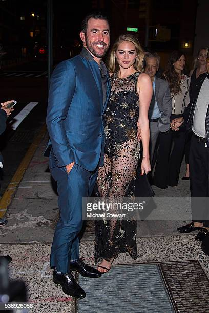 Baseball player Justin Verlander and model Kate Upton attend Carine Roitfeld hosts birthday party for Kate Upton at The Blond at 11 Howard Hotel on...