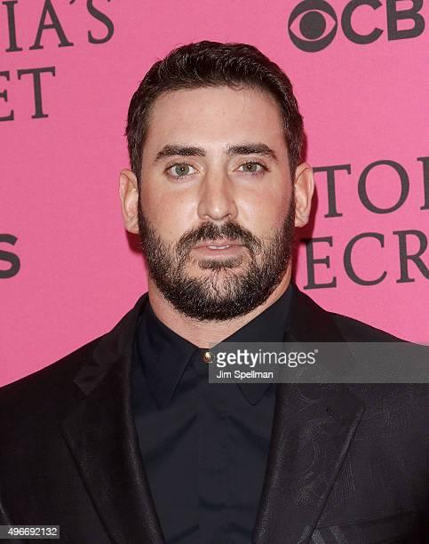 Baseball player Matt Harvey attends the 2015 Victoria's Secret Fashion Show pink carpet arrivals at Lexington Armory on November 10 2015 in New York...