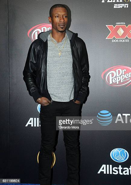 Baseball player Melvin Upton Jr poses on the blue carpet during the Allstate Party At The Playoff on January 7 2017 in Tampa Florida
