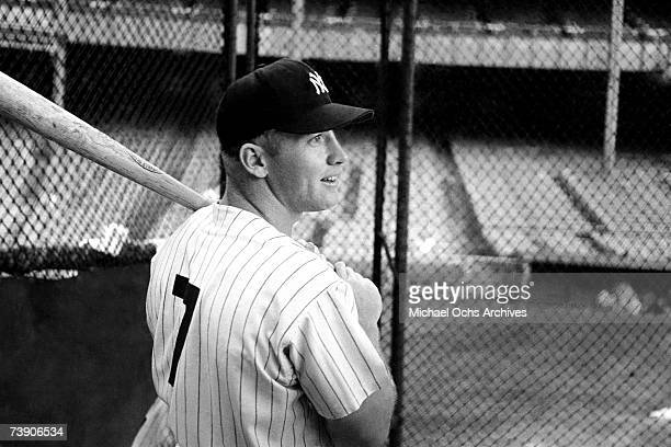 Baseball player Mickey Mantle practices his batting before a game at Yankee Stadium circa 1958 in New York City New York