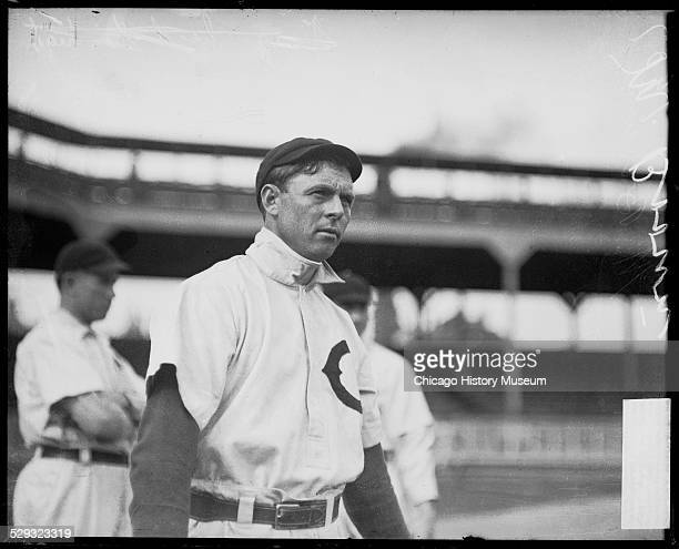 Baseball player Mordecai Brown of the Chicago Cubs standing on the field at West Side Grounds during the 1907 World Series Chicago Illinois