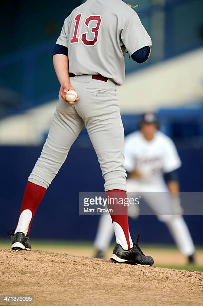 baseball player - base sports equipment stock photos and pictures