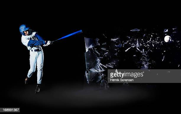 baseball player shooting through glass - batting stock-fotos und bilder