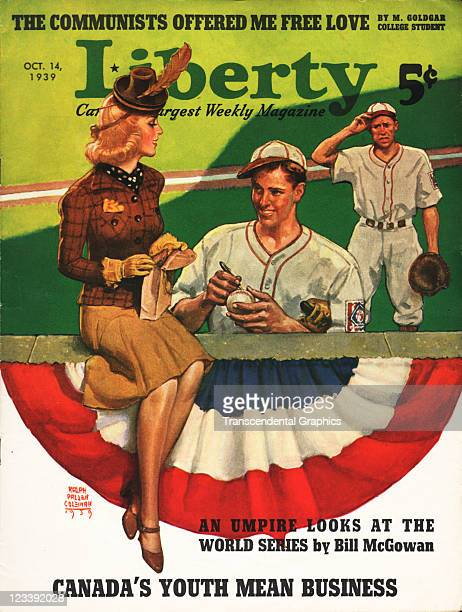 A baseball player signs an autograph for an admiring fan on this cover for Liberty magazine issue dated October 14 1939 and published in New York City