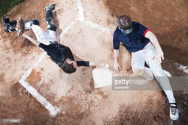 Baseball Player Sliding Into Home Plate, High Angle, Copy Space