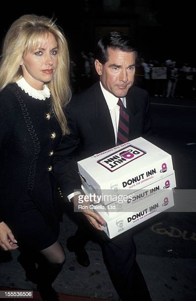 Baseball Player Steve Garvey and wife Candace Thomas attend the announcement of OJ Simpson Verdict of Not Guilty on October 3 1995 at LA Court House...