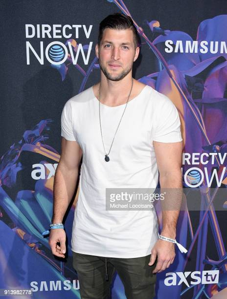 Baseball player Tim Tebow attends the 2018 DIRECTV NOW Super Saturday Night Concert at NOMADIC LIVE at The Armory on February 3 2018 in Minneapolis...