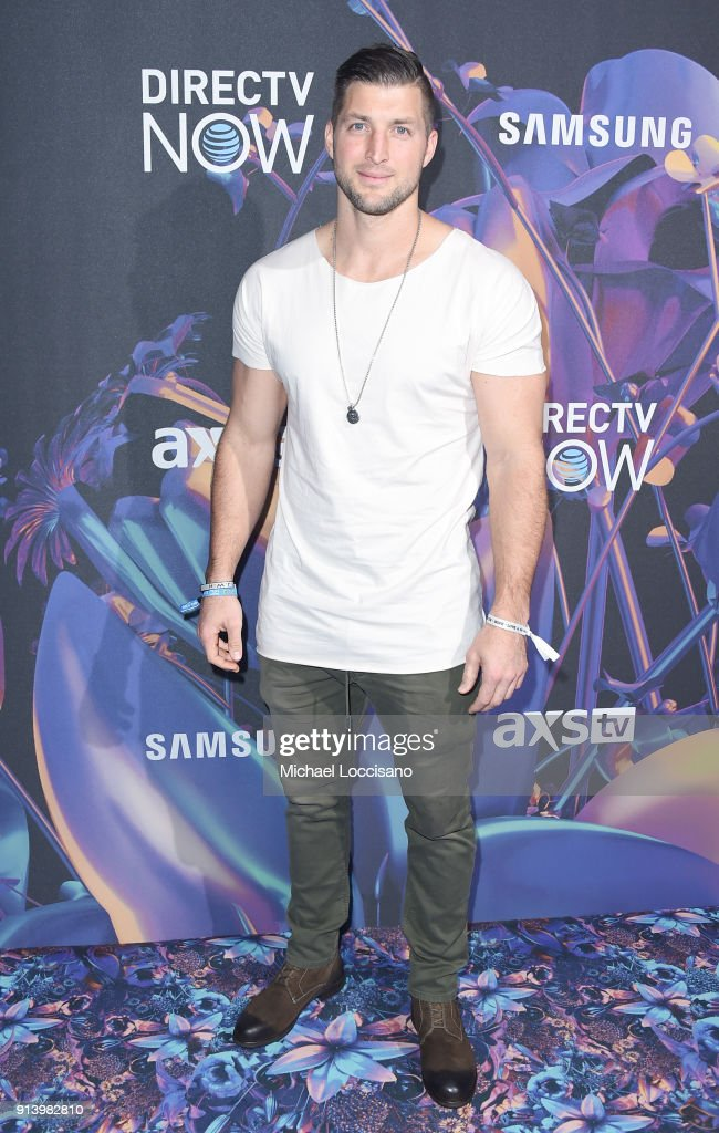 Baseball player Tim Tebow attends the 2018 DIRECTV NOW Super Saturday Night Concert at NOMADIC LIVE! at The Armory on February 3, 2018 in Minneapolis, Minnesota.