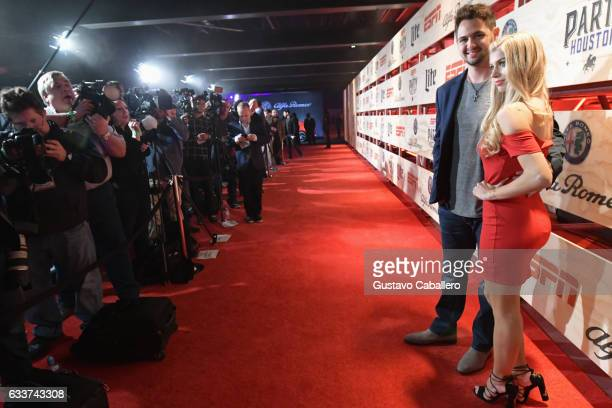 Baseball player Tyler Beede and actress Allie Deberry attend the 13th Annual ESPN The Party on February 3 2017 in Houston Texas