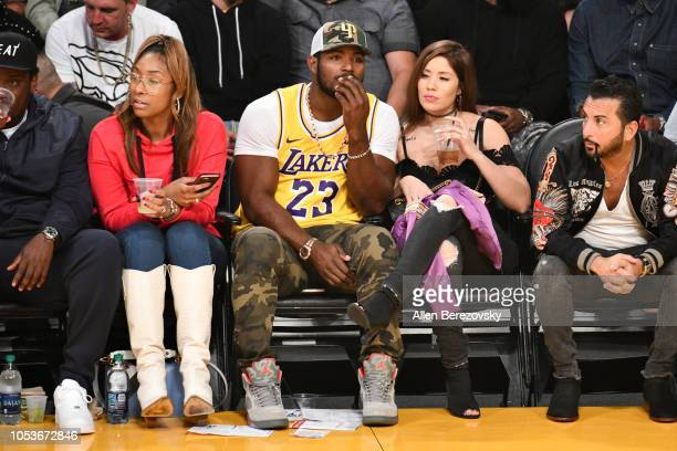 Baseball player Yasiel Puig attends a basketball game between the Los Angeles Lakers and the Denver Nuggets at Staples Center on October 25 2018 in...