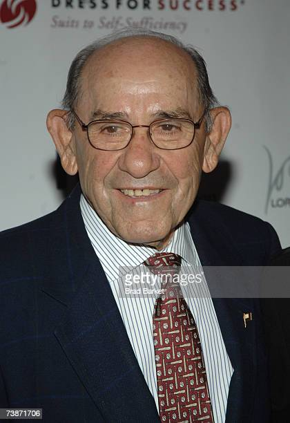 Baseball Player Yogi Berra attends the Dress for Success 10th Anniversary Gala at the Marriott Marquis Hotel on April 12 2007 in New York City