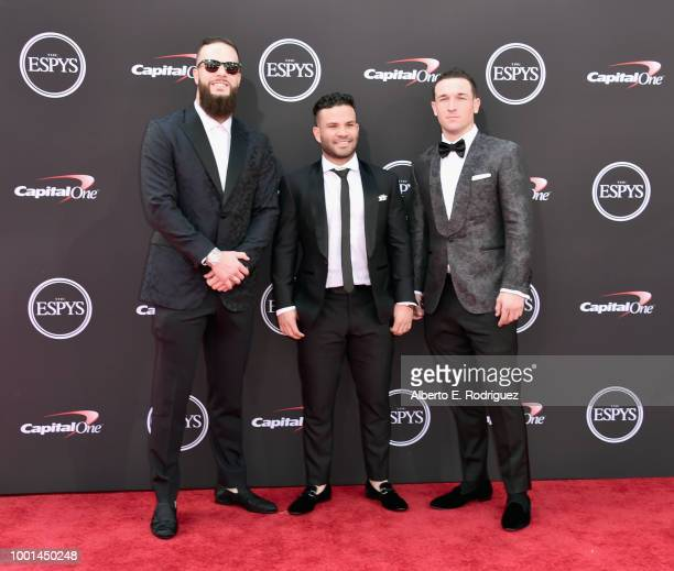Baseball players Dallas Keuchel Jose Altuve and Alex Bregman attend The 2018 ESPYS at Microsoft Theater on July 18 2018 in Los Angeles California