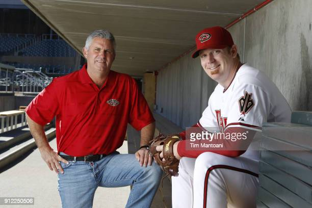 Portrait of Arizona Diamondbacks pitcher JJ Putz with general manager Kevin Towers during spring training photo shoot at Salt River Fields at Talking...