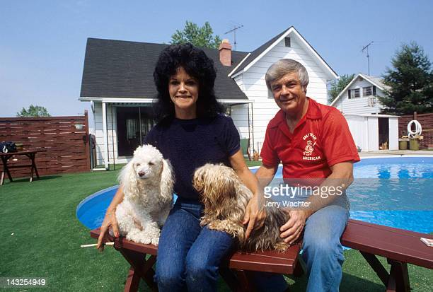 Portrait of Baltimore Orioles manager Earl Weaver with wife Marianna and dogs outside their home. Perry Hall, MD 5/30/1980 CREDIT: Jerry Wachter