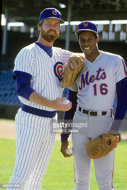 Portrait of Chicago Cubs Rick Sutcliffe with New York Mets Dwight Gooden before game at Wrigley Field Cover Chicago IL CREDIT Ronald C Modra