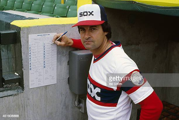 Portrait of Chicago White Sox manager Tony La Russa in dugout with lineup card before game vs Oakland Athletics at Comiskey Park Chicago IL CREDIT...