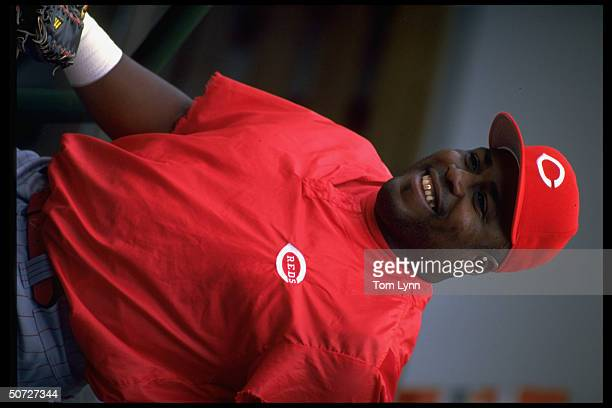Portrait of Cin Reds Kevin Mitchell alone happy during BP before game