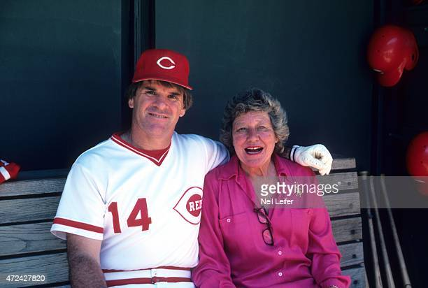 Portrait of Cincinnati Reds player/ manager Pete Rose with owner Marge Schott in dugout during photo shoot at Riverfront Stadium Cincinnati OH CREDIT...