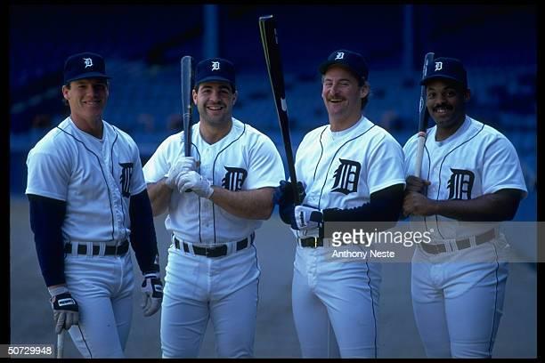 Portrait of Detroit Tigers Mickey Tettleton Pete Incaviglia Rob Deer Cecil Fielder In empty stadium
