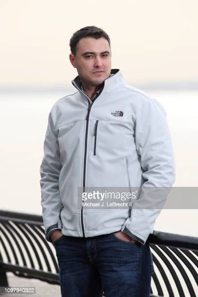 Portrait of former Los Angeles Dodgers assistant director of player development Nick Francona posing outside during photo shoot on Battery Park City...