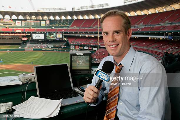Portrait of FOX Sports announcer Joe Buck during photo shoot in St Louis Cardinals broadcast booth before game vs New York Mets at Busch Stadium St...