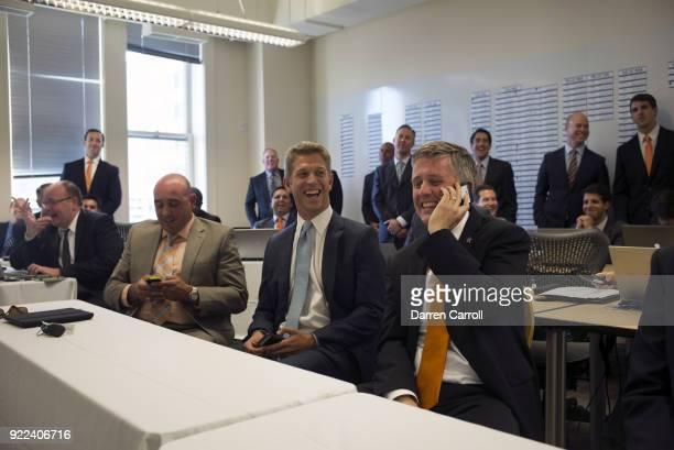 Portrait of Houston Astros director of amateur scouting Mike Elias and general manager Jeff Luhnow during MLB Draft Day at Minute Maid Park Behind...