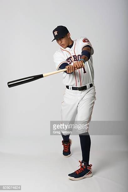 Portrait of Houston Astros shortstop Carlos Correa posing during photo shoot at Minute Maid Park Houston TX CREDIT Greg Nelson