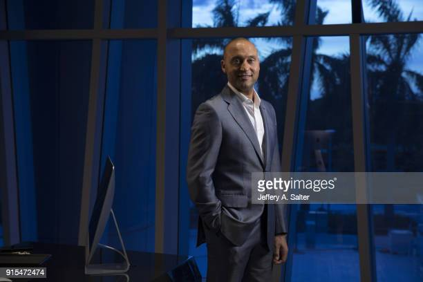 Portrait of Miami Marlins CEO and minority owner Derek Jeter posing in his office during photo shoot at Marlins Park Miami FL CREDIT Jeffery A Salter