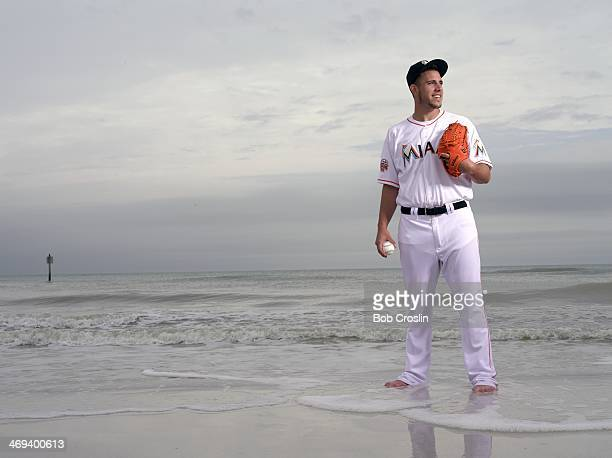 Portrait of Miami Marlins pitcher Jose Fernandez posing during photo shoot on South Beach Clearwater FL CREDIT Bob Croslin