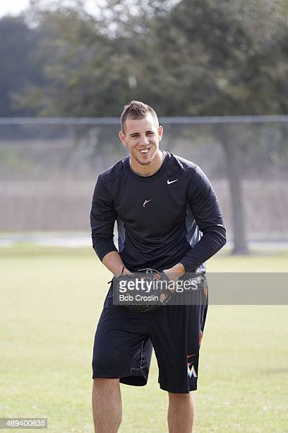 Portrait of Miami Marlins pitcher Jose Fernandez warming up during training session photo shoot at Braulio Alonso HS Tampa FL CREDIT Bob Croslin