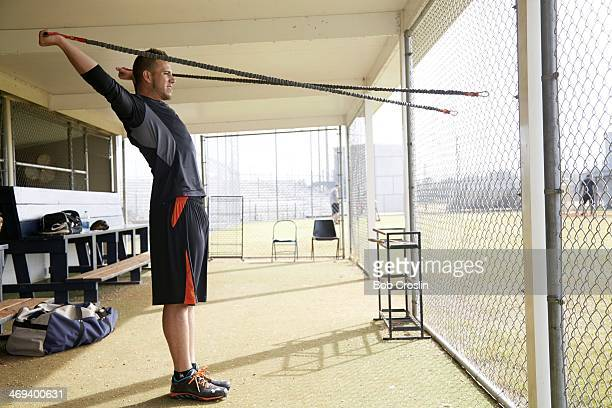 Portrait of Miami Marlins pitcher Jose Fernandez working out during training session photo shoot at Braulio Alonso HS Tampa FL CREDIT Bob Croslin