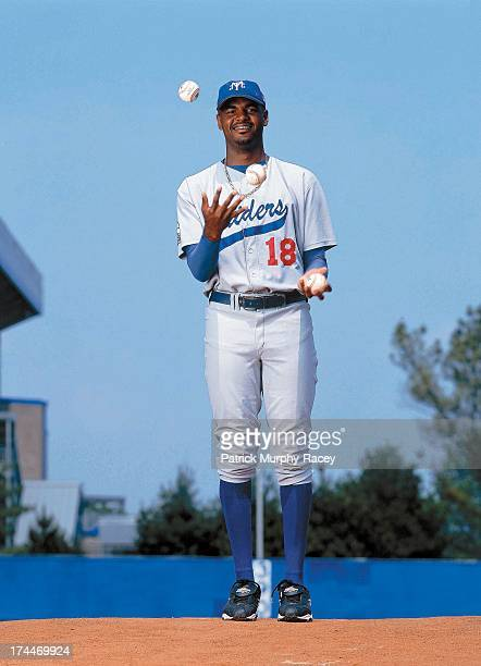 Portrait of Middle Tennessee State pitcher Dewon Brazelton juggling balls on mound before game at Reese Smith Jr Field Murfreesboro TN CREDIT Patrick...