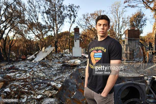 Portrait of Milwaukee Brewers outfielder Christian Yelich posing during photo shoot on site destroyed by the Woolsey Fire Yelich the 2018 NL MVP...