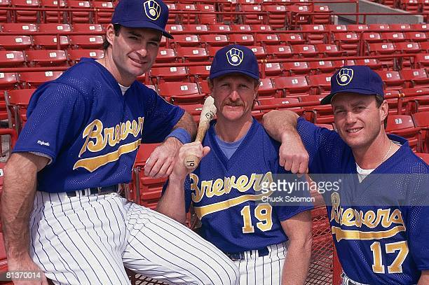 Baseball Portrait of Milwaukee Brewers Paul Molitor Robin Yount and Jim Gantner before game vs Toronto Blue Jays Milwaukee WI 5/2/1992