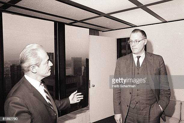 Baseball Portrait of MLB commissioner Bowie Kuhn with MLB Players Association executive director Marvin Miller New York NY 2/2/1969