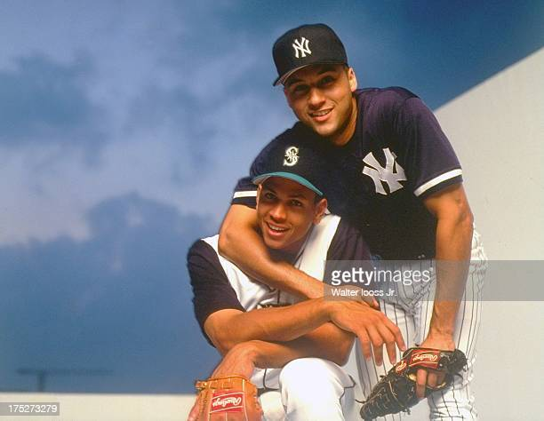 Portrait of MLB shortstops Seattle Mariners Alex Rodriguez and New York Yankees Derek Jeter during photo shoot Cover Miami FL CREDIT Walter Iooss Jr