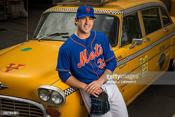 Portrait of New York Mets pitcher Matt Harvey posing next to classic Checker taxicab during photo shoot on Vernon Boulevard in Queens Long Island...
