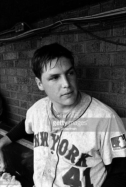 Portrait of New York Mets Tom Seaver in dugout during game vs Chicago Cubs Chicago IL 7/15/19697/16/1969 CREDIT Herb Scharfman