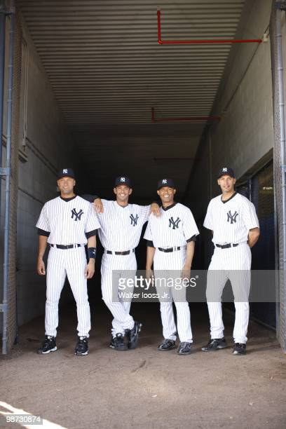 Portrait of New York Yankees Derek Jeter , Jorge Posada , Mariano Rivera and Andy Pettitte . Tampa, FL 3/26/2010 CREDIT: Walter Iooss Jr.