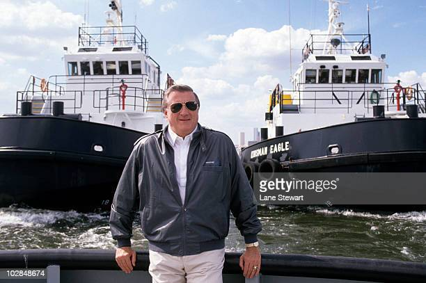 Portrait of New York Yankees owner George Steinbrenner on tugboat New York NY 4/27/1990 CREDIT Lane Stewart 079007227